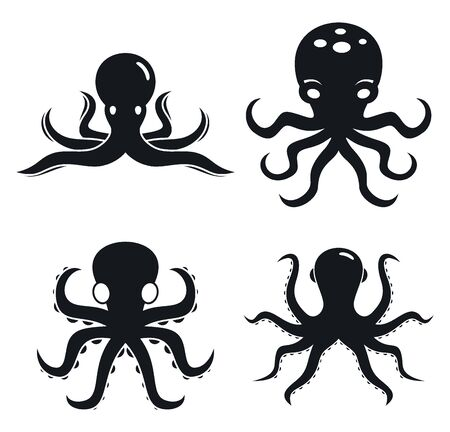 Octopus icons set, simple style