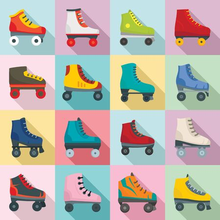Roller skates icons set, flat style 일러스트