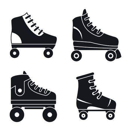 Quad roller skates icons set. Simple set of quad roller skates vector icons for web design on white background
