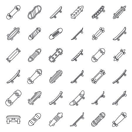 Skateboard equipment icons set. Outline set of skateboard equipment vector icons for web design isolated on white background