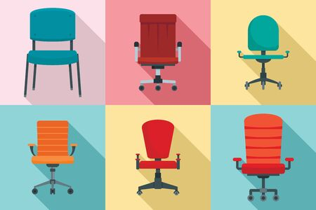 Desk chair icons set. Flat set of desk chair vector icons for web design