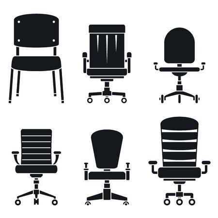 Office desk chair icons set, simple style 일러스트