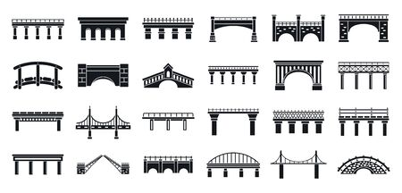 Road bridges icons set. Simple set of road bridges vector icons for web design on white background