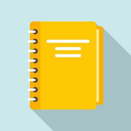 Yellow notebook icon. Flat illustration of yellow notebook vector icon for web design