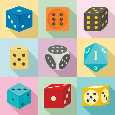 Dice icons set. Flat set of dice vector icons for web design