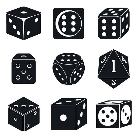 Casino dice icons set. Simple set of casino dice vector icons for web design on white background