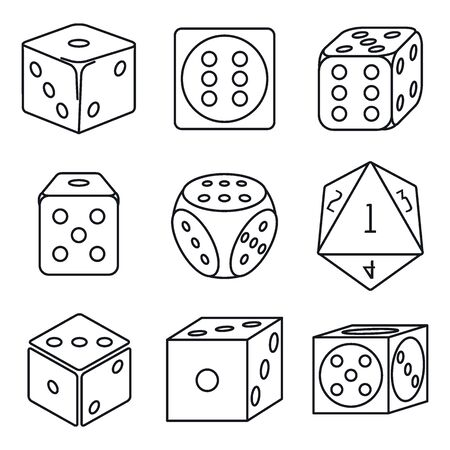 Play dice icons set. Outline set of play dice vector icons for web design isolated on white background Illustration