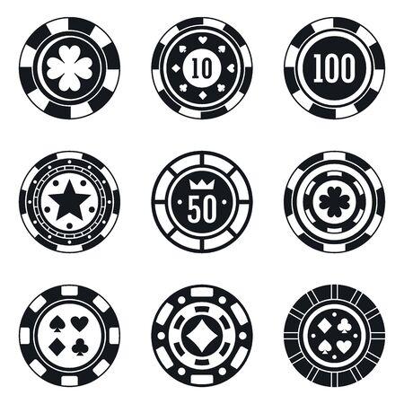 Poker casino chips icons set. Simple set of poker casino chips vector icons for web design on white background 일러스트
