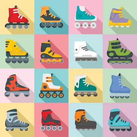 Conjunto de iconos de patines en línea. Conjunto plano de patines en línea iconos vectoriales para diseño web
