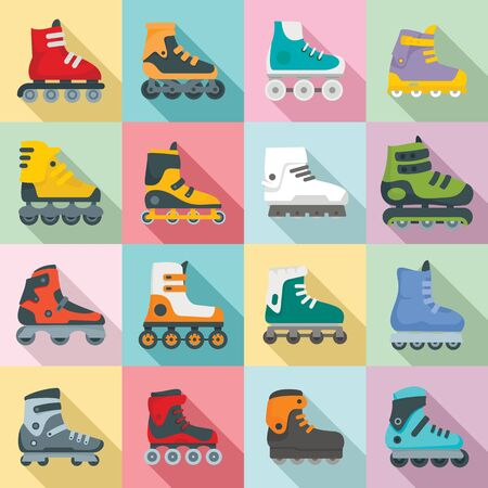 Inline skates icons set. Flat set of inline skates vector icons for web design