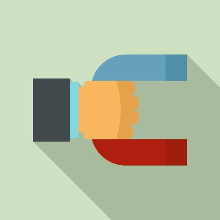 Magnet in hand icon. Flat illustration of magnet in hand vector icon for web design 向量圖像