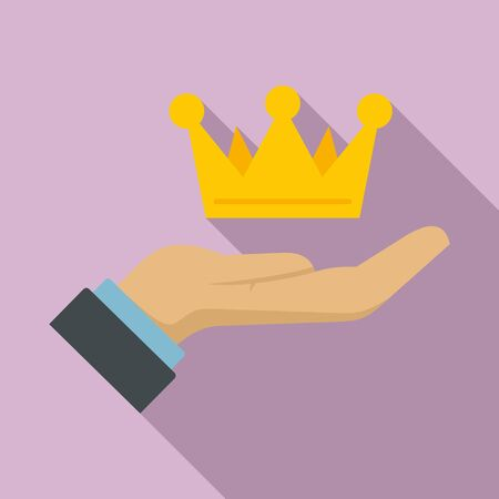 Crown in hand icon. Flat illustration of crown in hand vector icon for web design 일러스트