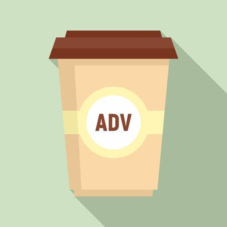 Adv coffee cup icon. Flat illustration of adv coffee cup vector icon for web design 일러스트