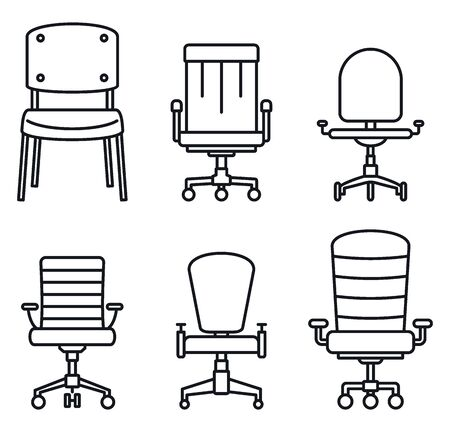 Modern desk chair icons set. Outline set of modern desk chair vector icons for web design isolated on white background
