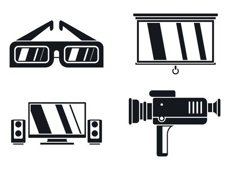 Home movie show icons set. Simple set of home movie show vector icons for web design on white background