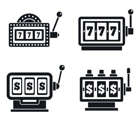 Casino slot machine icons set. Simple set of casino slot machine vector icons for web design on white background