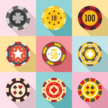 Casino chips icons set. Flat set of casino chips vector icons for web design