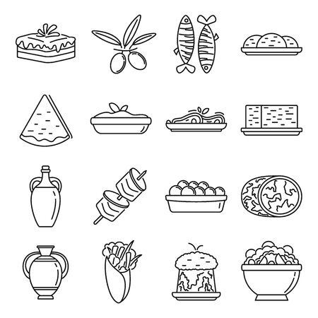 Greek cuisine food icons set, outline style