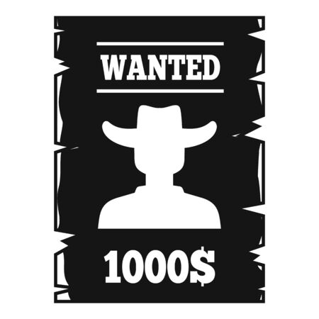 Western wanted paper icon. Simple illustration of western wanted paper vector icon for web design isolated on white background