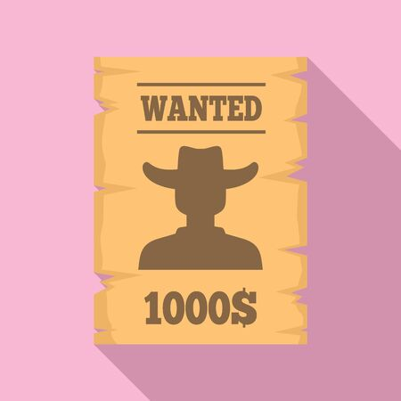 Western wanted paper icon. Flat illustration of western wanted paper vector icon for web design Illustration