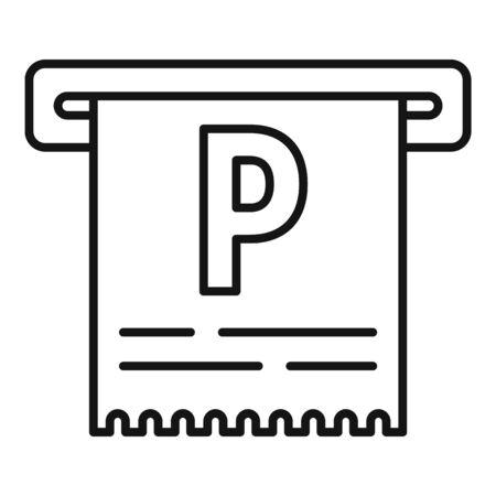 Icône de ticket de parking, style de contour Vecteurs