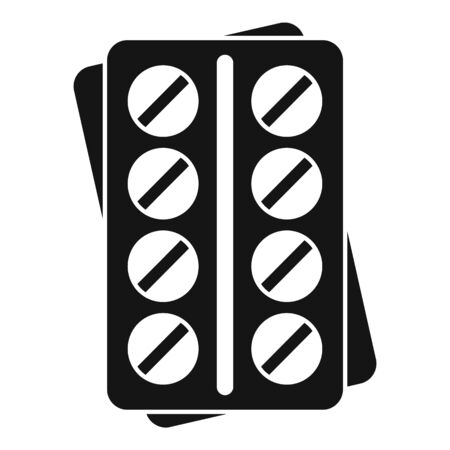 Pills pack icon, simple style