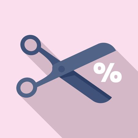 Scissors price cut icon. Flat illustration of scissors price cut vector icon for web design