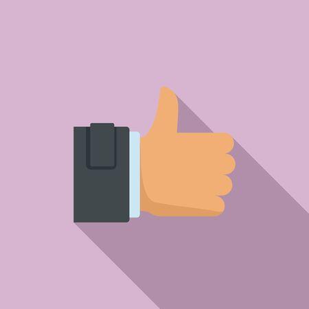 Thumb up icon, flat style Ilustração