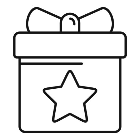 Loyalty gift box icon, outline style Illustration