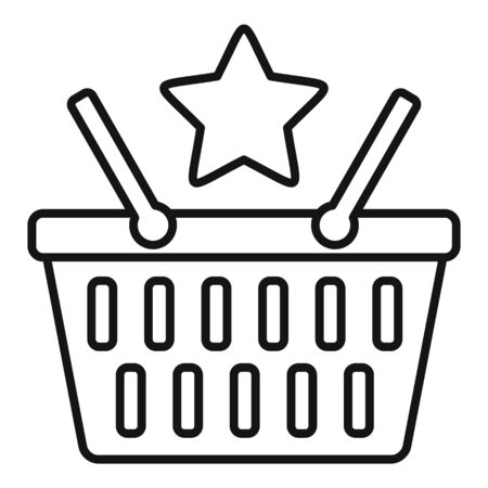 Loyalty shop basket icon, outline style