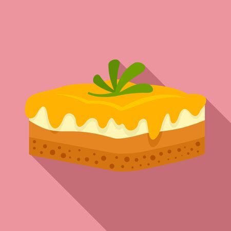 Greek cheesecake icon, flat style