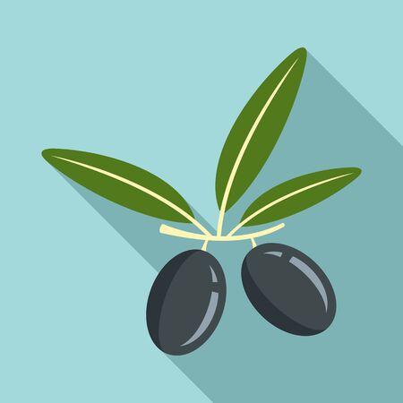 Black greek olive icon, flat style
