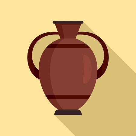 Greek water jug icon, flat style