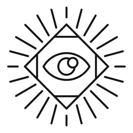 Magic eye square icon. Outline magic eye square vector icon for web design isolated on white background Illusztráció