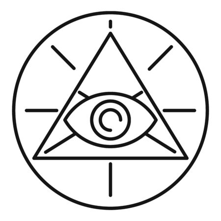 Occult pyramid eye icon. Outline occult pyramid eye vector icon for web design isolated on white background 向量圖像