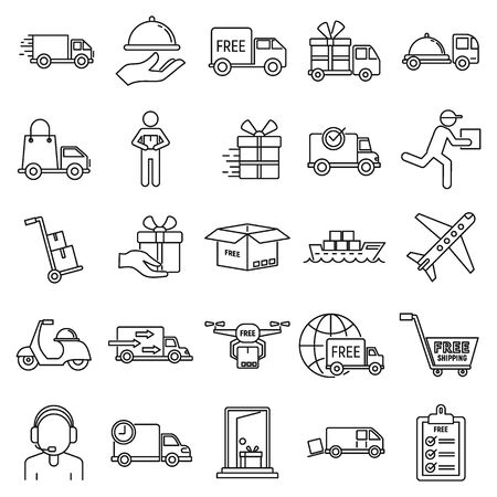 Parcel free shipping icons set. Outline set of parcel free shipping vector icons for web design isolated on white background