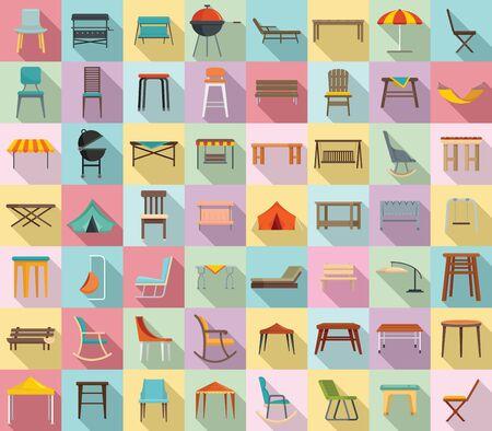 Ensemble d'icônes de meubles de jardin. Ensemble plat d'icônes vectorielles de meubles de jardin pour la conception web