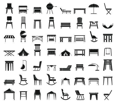 Home Gartenmöbel Icons Set. Einfacher Satz von Heimgartenmöbel-Vektorsymbolen für Webdesign auf weißem Hintergrund