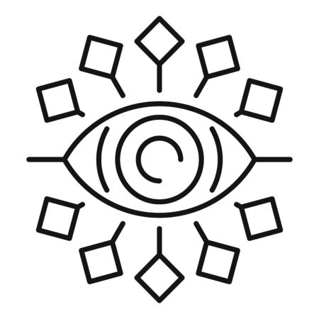 Tribal eye alchemy icon, outline style