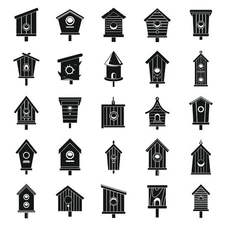 Tree bird house icons set, simple style