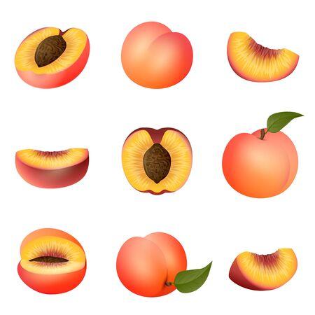 Peach icons set, cartoon style