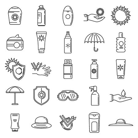 Uv sun protection icons set. Outline set of uv sun protection vector icons for web design isolated on white background