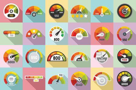 Kredit-Score-Symbole gesetzt. Flacher Satz Kreditwürdigkeitsvektorikonen für Webdesign