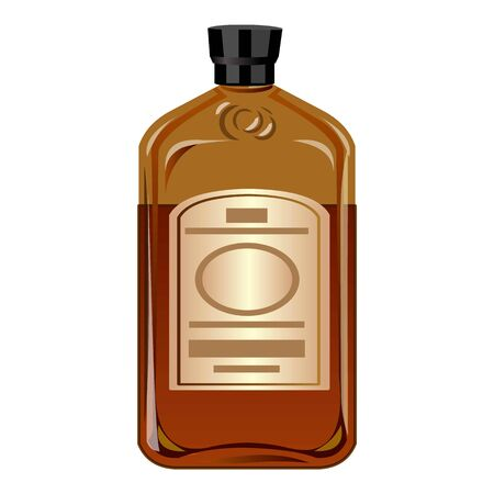 Whisky bottle icon. Cartoon of whisky bottle vector icon for web design isolated on white background