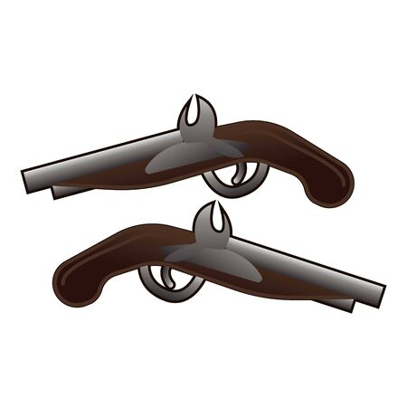 Western pistols icon, cartoon style