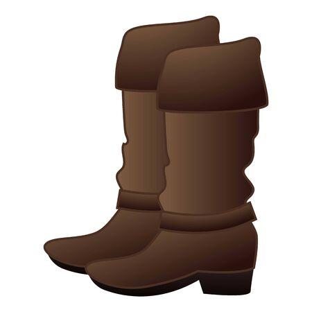 Cowboy boots icon, cartoon style