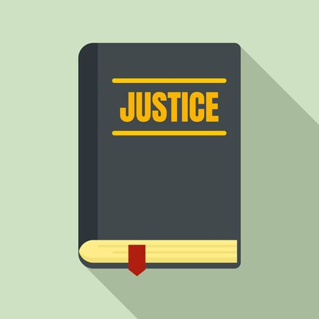 Justice book icon. Flat illustration of justice book vector icon for web design