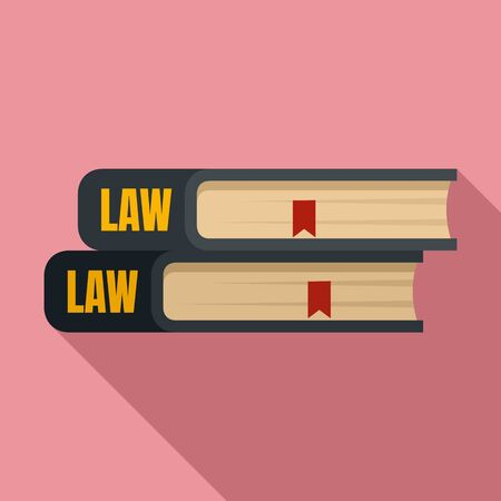 Law book icon, flat style