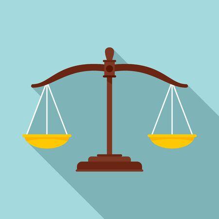 Judge balance icon, flat style