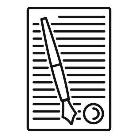 Legislation paper icon, outline style Ilustrace